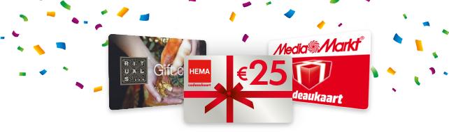 Tijdelijk gratis €25,- cadeaukaart van Hema, Rituals of Mediamarkt @ Vriendenloterij