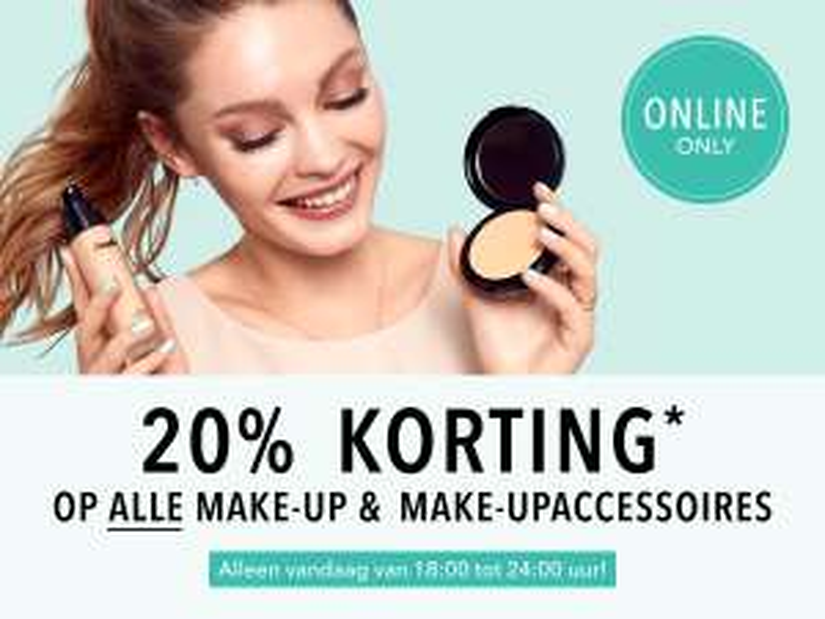 Vanavond 20% korting op make-up en make-upaccessoires op www.douglas.nl