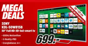 Sony Bravia KDL-50W815B (Zilver) FULL HD 3D Smart LED TV voor €699,- @ Media Markt