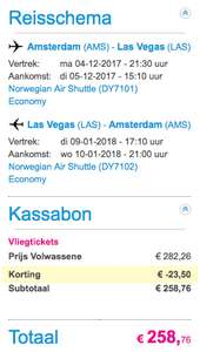 Amsterdam - Las Vegas: Retour voor 259,- bij Schipholtickets.com