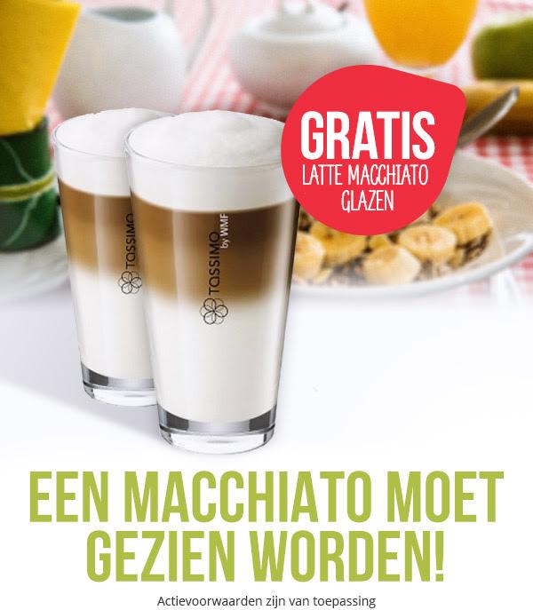 Een setje Latte Macchiato glazen gratis bij een minimale besteding van €30 @ Tassimo