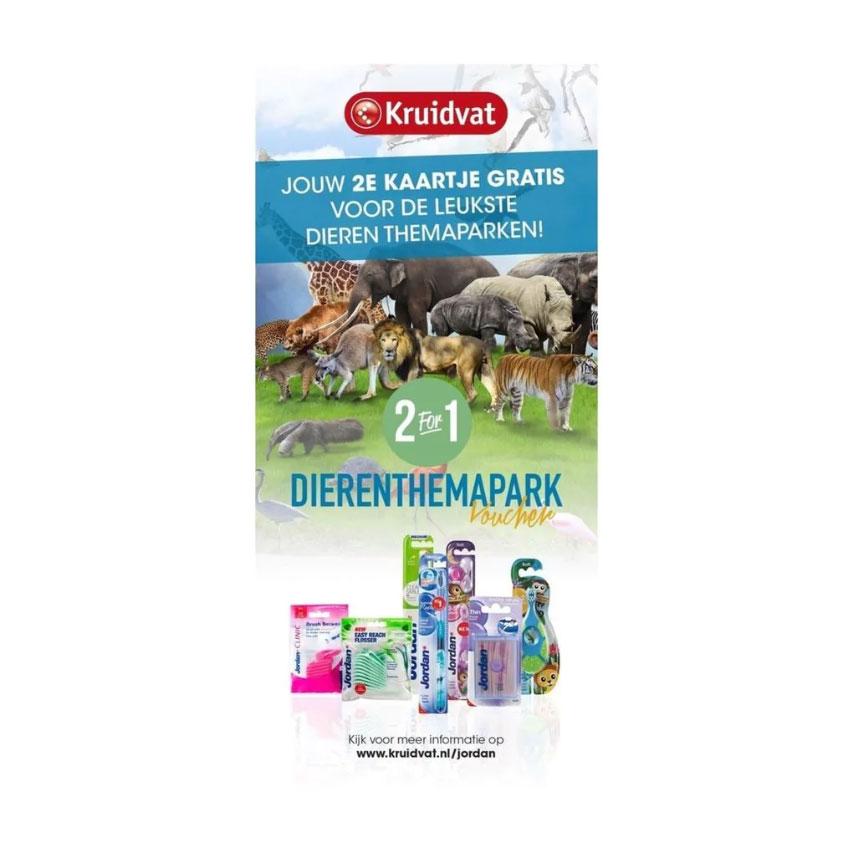 2e kaartje dierenthemapark gratis @ Kruidvat bij 2 Jordan producten (2e halve prijs)