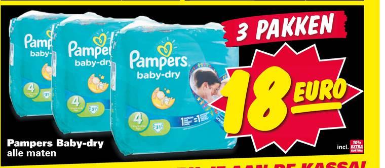 3 pakken Pampers Baby Dry voor €18 @ Nettorama