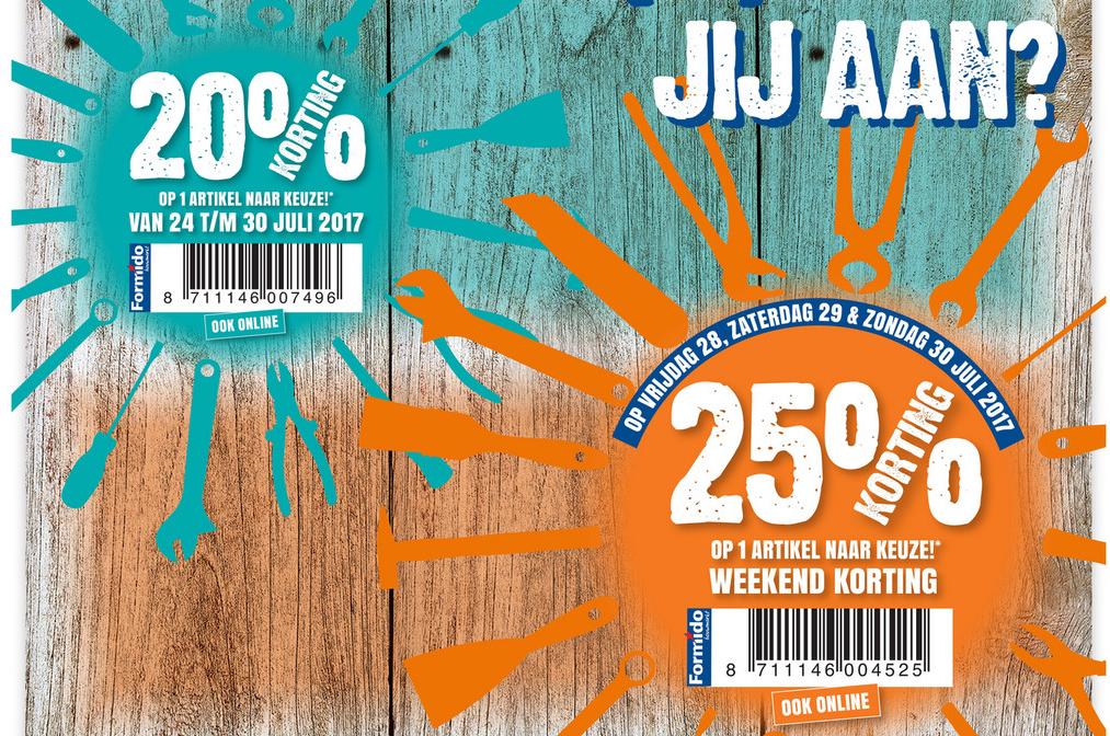 25% + 20% korting 1 artikel naar keuze @ Formido en Praxis