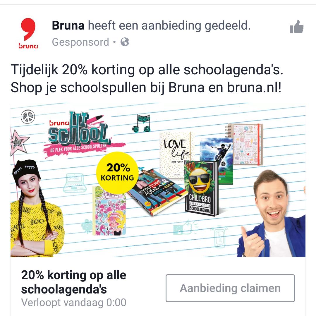 20% korting op alle school agenda's @ Bruna