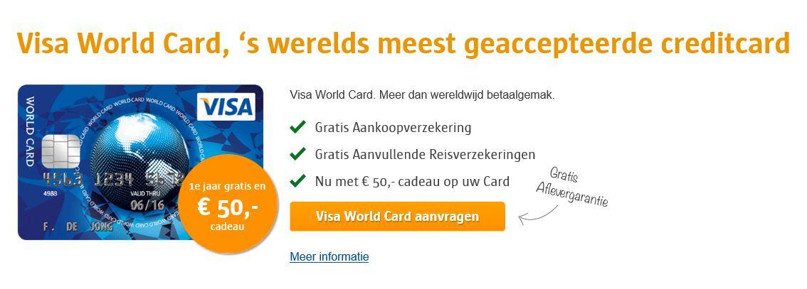 € 50,- cadeau @ Visa World Card