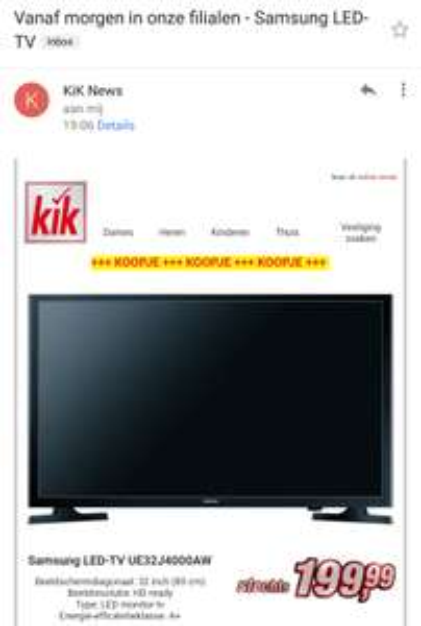 Samsung UE32J4000AW led tv voor €199,99 @ Kik winkels