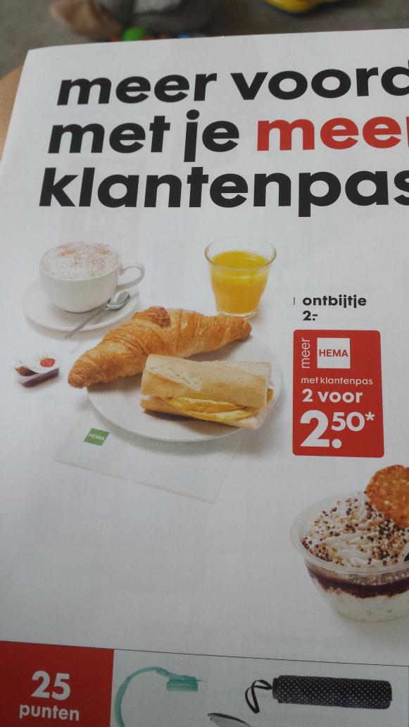 HEMA ontbijt 2 voor €2.50 met klantenpas