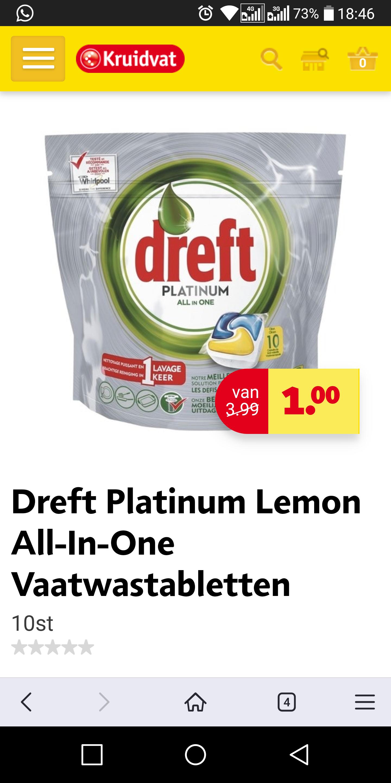 1 euro : Dreft Platinum Vaatwastabletten 10 stuks @ Kruidvat