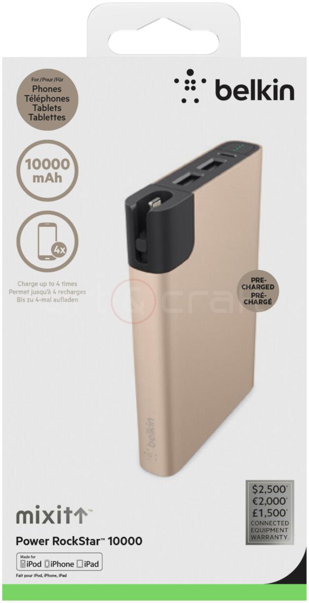 Belkin MIXIT Metallic Power RockStar 10000 powerbank Goud @ ArtenCraft.nl