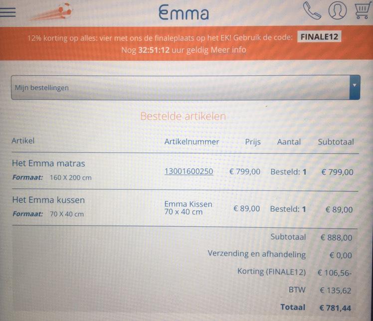12% korting op alles @ Emma Matras