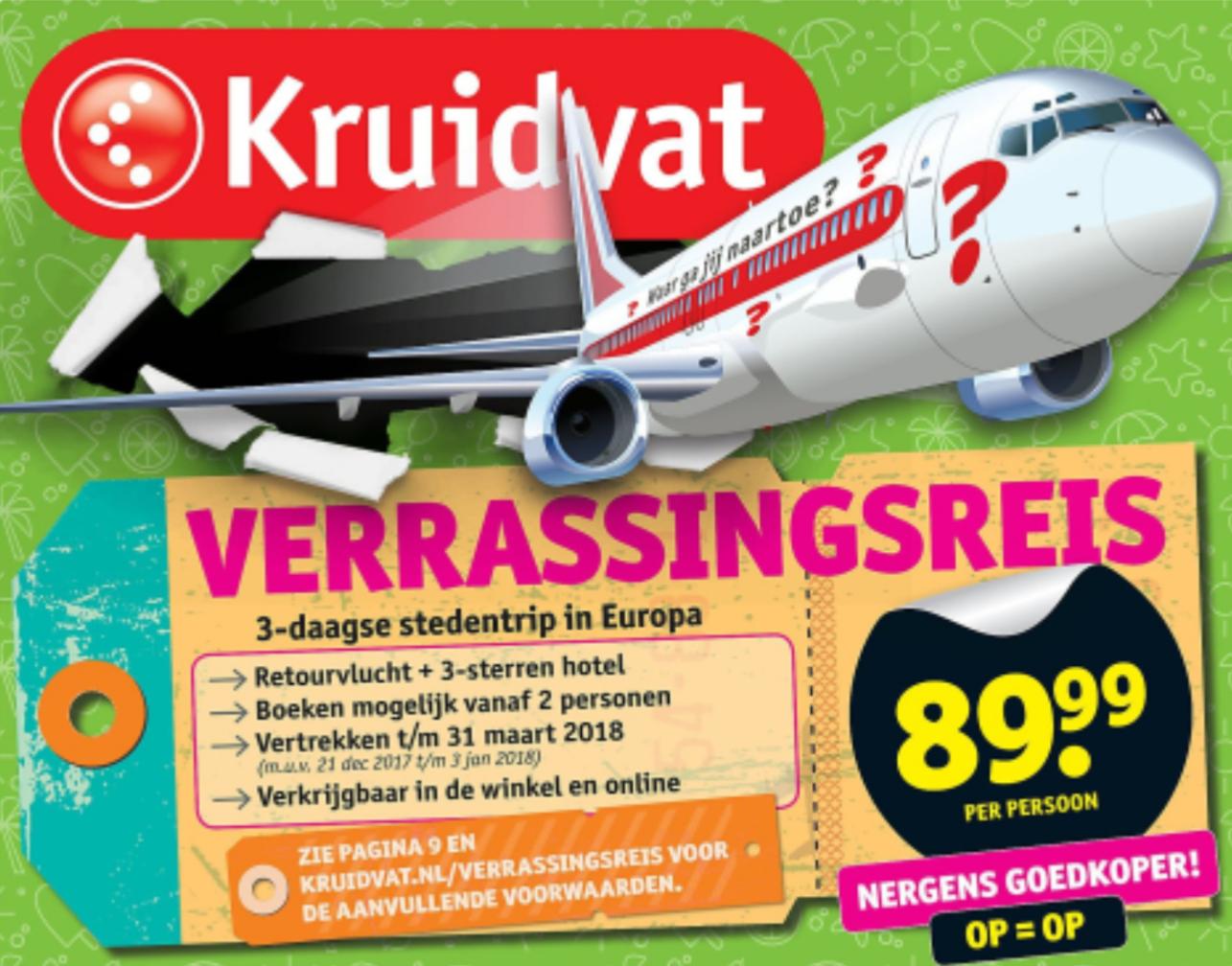 Verrassingsreis - 3 daagse stedentrip in Europa met retourvlucht en 3 sterren hotel voor €89 p.p. @ Kruidvat