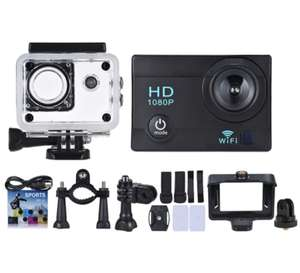 "2"" LCD 12MP 1080P WiFi Action Sports Camera met toebehoren voor €13,75 @ Tomtop"