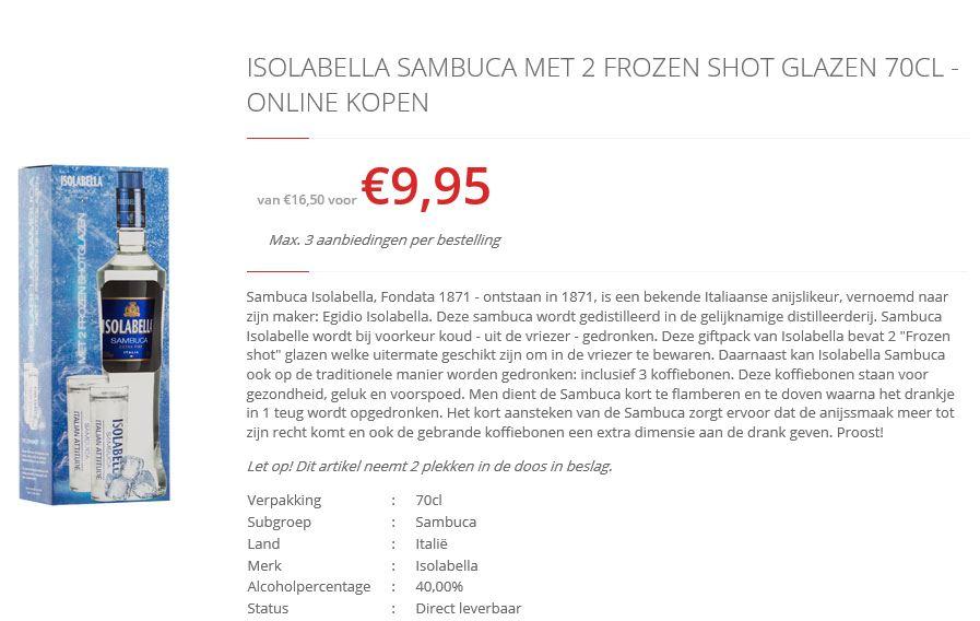 Isolabella Sambuca met 2 frozen shot glazen @ drankdozijn.nl