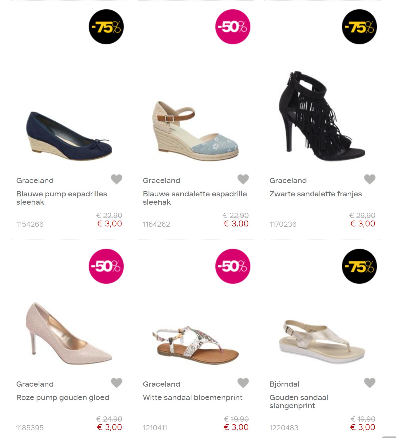 Alle schoenen in sale voor €3, €5 en €10   @ Van Haren