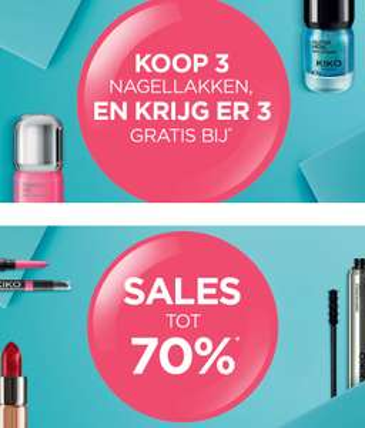 Drie nagellakken = 3 gratis + SALE tot -70% + €5 extra (min €30) @ Kiko
