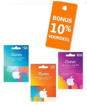 10% korting op iTunes cadeaukaarten 25, 50 en 100 euro* @ Albert Heijn
