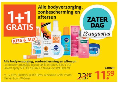 Vandaag (bijna) alle zonproducten, aftersun en body 1+1 GRATIS @ Etos