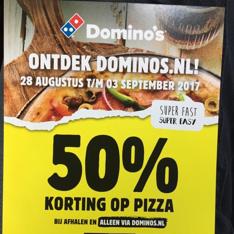 50% korting op pizza bij afhalen @ Domino's