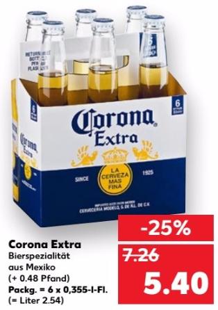 6-Pack Corona Extra (6x 0,355L) voor €5,40 @ kaufland.de (Grensdeal DE)