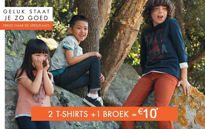 2 t-shirts + 1 broek voor €10 (kinderen) @kiabi