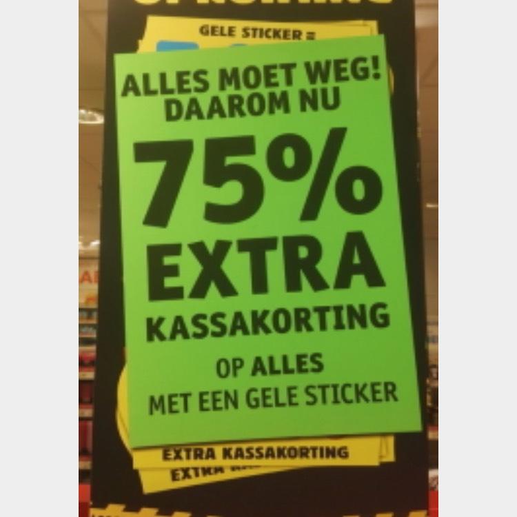 75% kassakorting op alles met gele sticker! @kruidvat