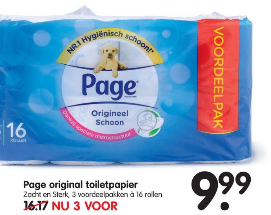 Page toiletpapier bij Emté 3 pakken á 16 rollen voor €9,99