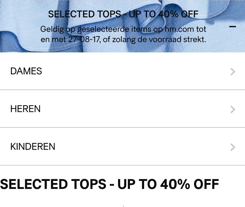 Tot 40% korting op geselecteerde tops bij H&M