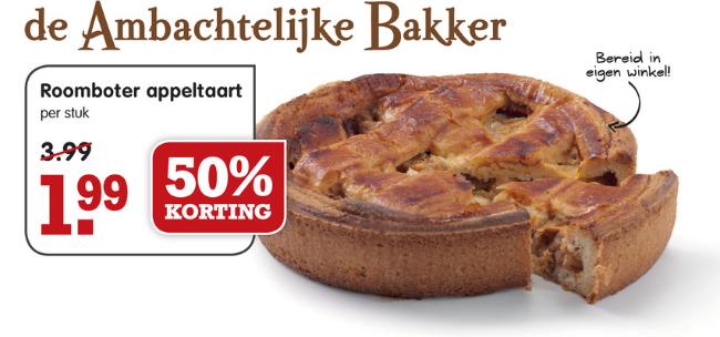 Roomboter appeltaart voor €1,99 @ Emté