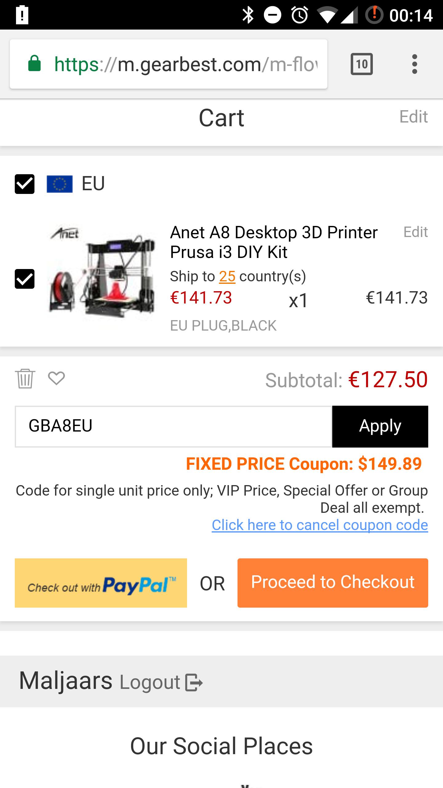 [UPDATE] 3D printer Anet A8 Prusa i3 (EU Warehouse) voor €117,98 @ Gearbest