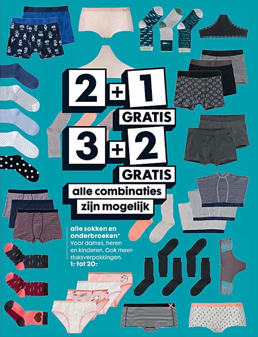 Hema 2+1 gratis/3+2 gratis op alle sokken en onderbroeken