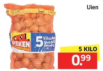 5 kilo uien voor €0,99 bij Lidl (eindigt woensdag)