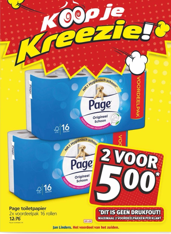 Page toiletpapier 32 rollen voor €5,- bij Jan Linders