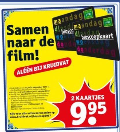 2 bioscoopkaartjes voor €9,95 @ Kruidvat