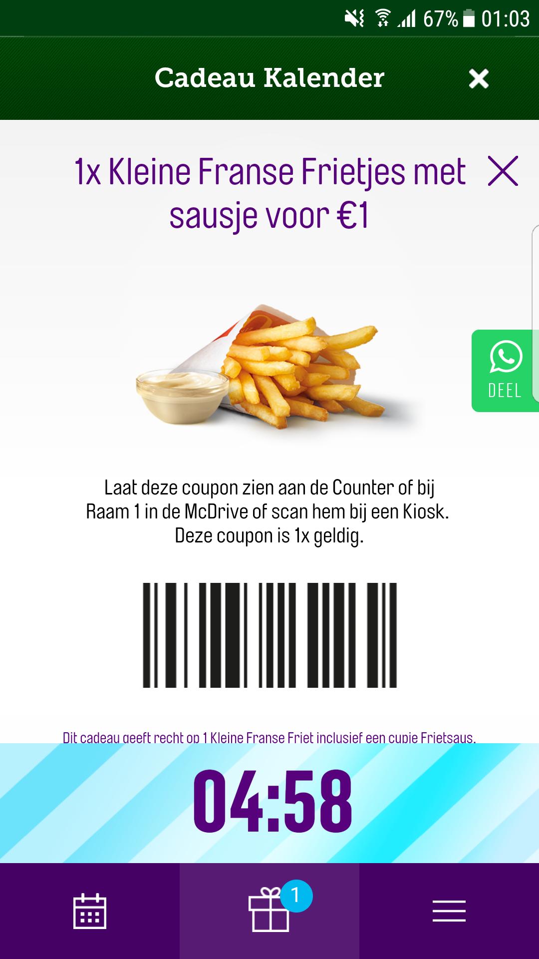 1 kleine friet met saus voor €1