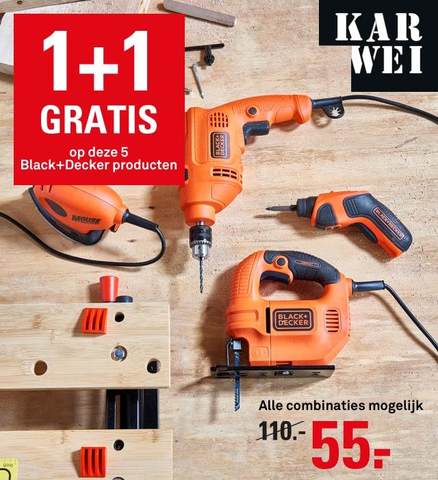 1+1 gratis op 5 Black+Decker producten @ Karwei