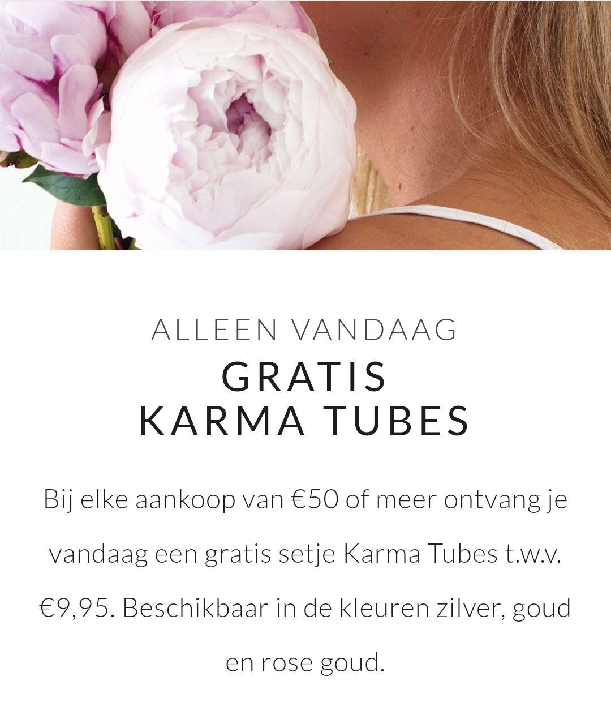 Alleen vandaag GRATIS karma tubes (oorbellen) bij besteding vanaf €50,- bij Brandfield (+ €5,- korting)
