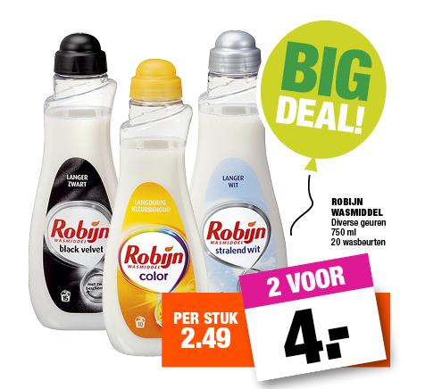 3 flessen Robijn Wasverzachter (750ml) voor €5 @ Big Bazar