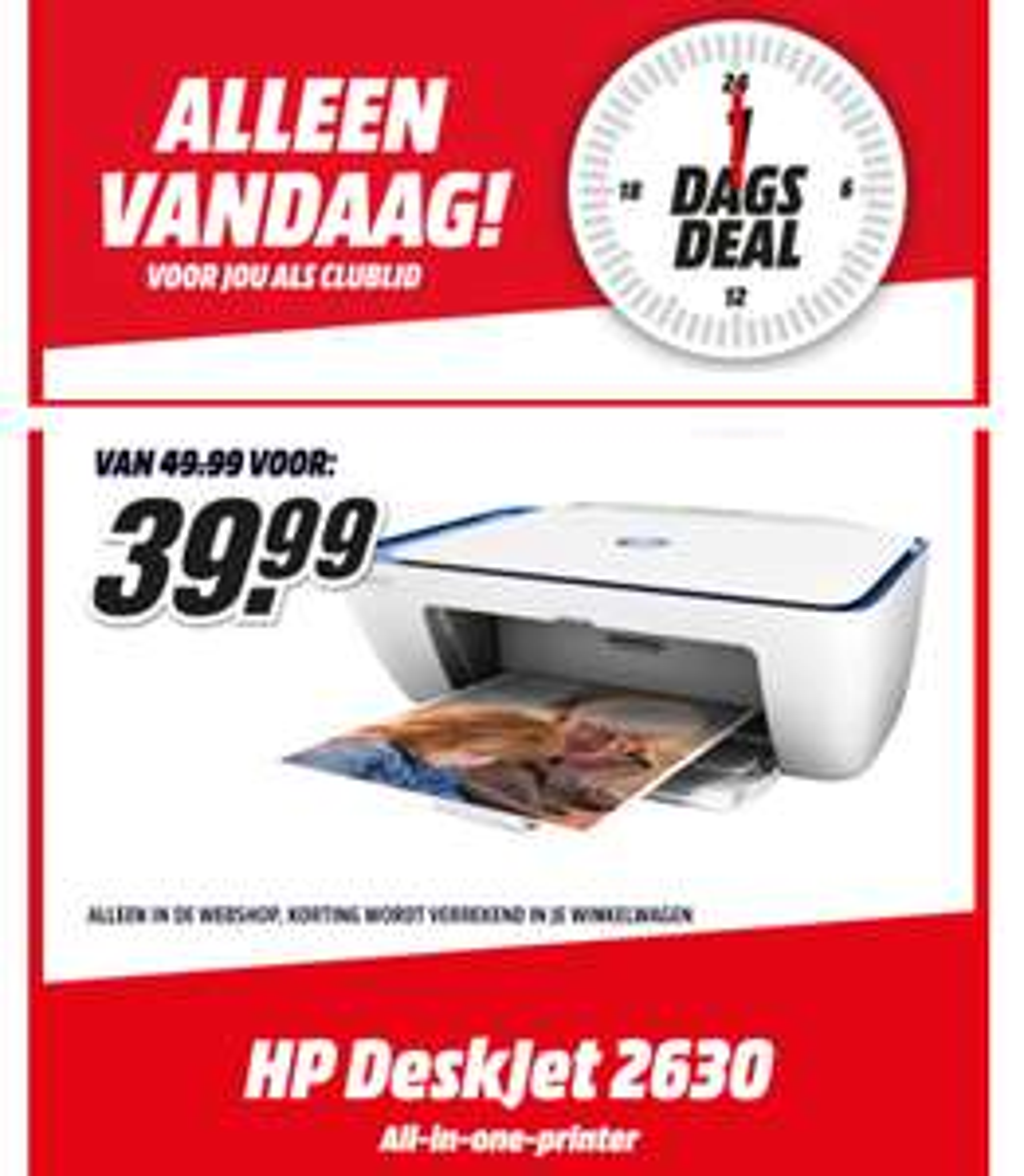 Alleen vandaag: HP DeskJet 2630 AiO Printer voor €39,99 @ Mediamarkt