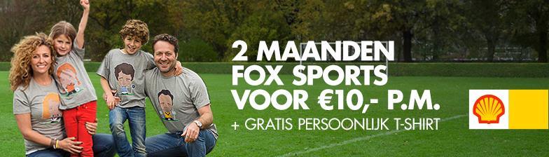 2 maanden Fox Sport voor €10,- p.m. + Gratis persoonlijke T-shirt