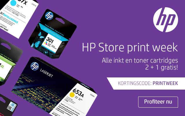 Alle inkt en toner cartridges 2+1 gratis tijdens de store printweek @ HP