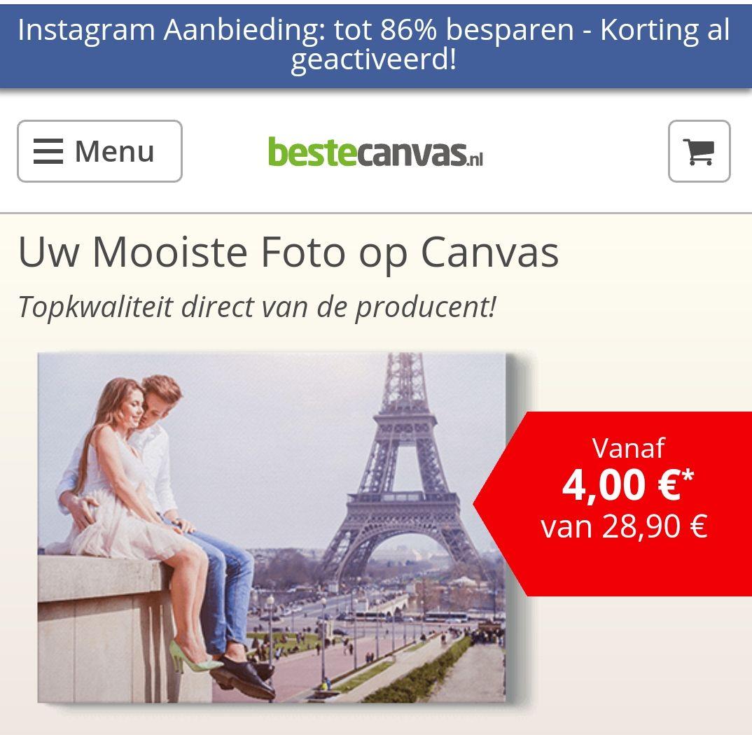 86% korting op bestecanvas.nl via Instagram