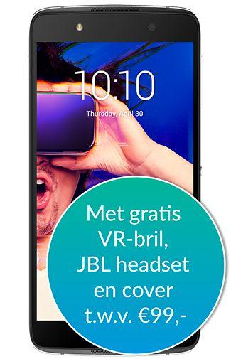 Alcatel IDOL 4 Plus 6055K (VR-bril\JBL headset combi) van €249 los \ €192 samen met abonnement nu voor €84,- samen met abonnement. Andere telefoons onderzocht ook vermeld in lijst.