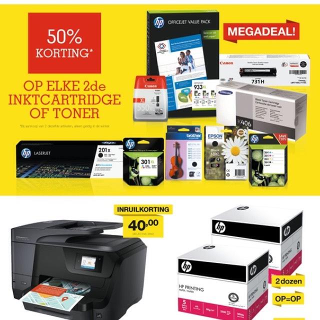 Megadeal: 50% korting op elke 2de inktcartridge of toner! @ Staples