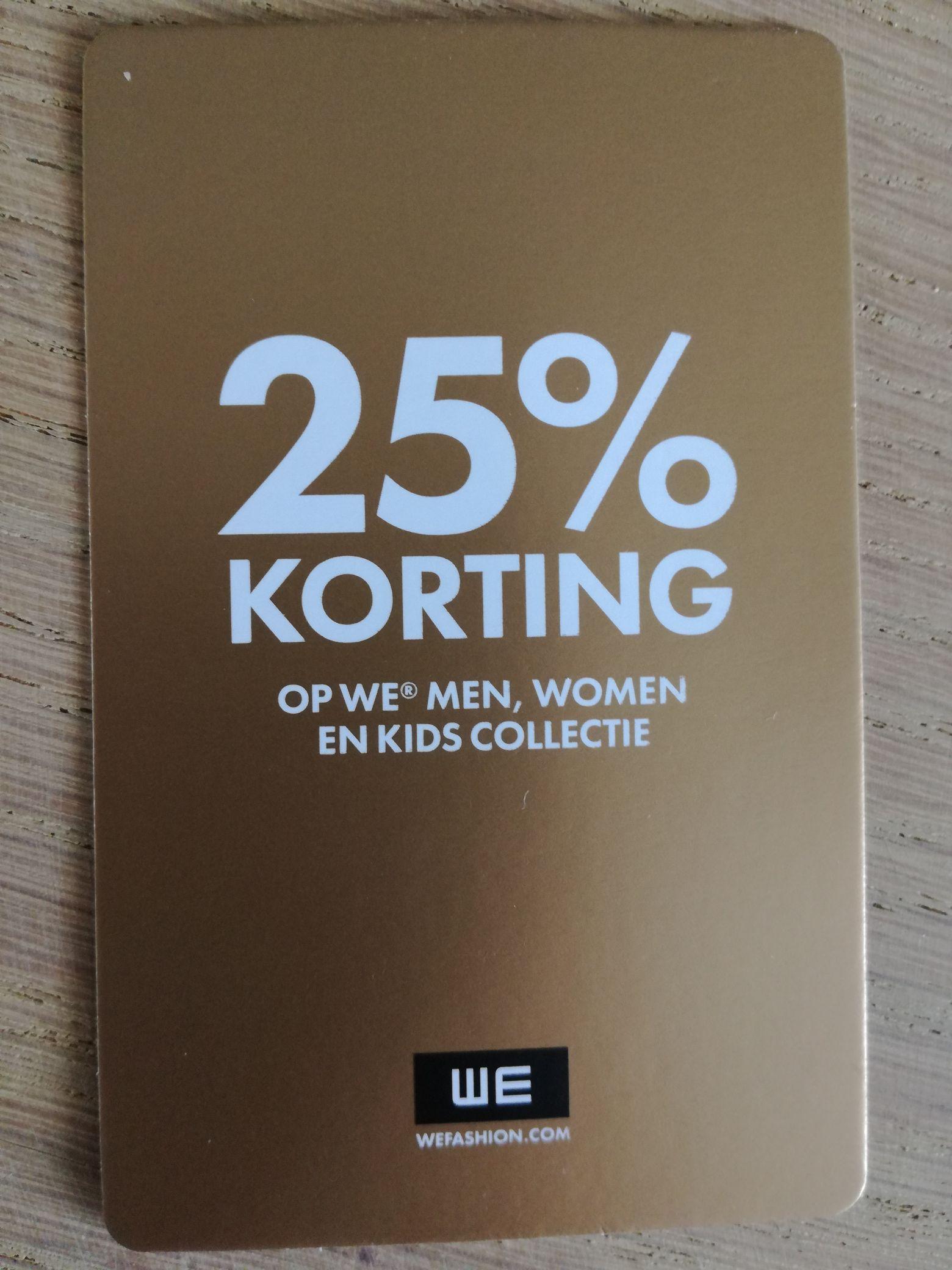 WE fashion. 25% korting op één artikel naar keuze, 2 codes