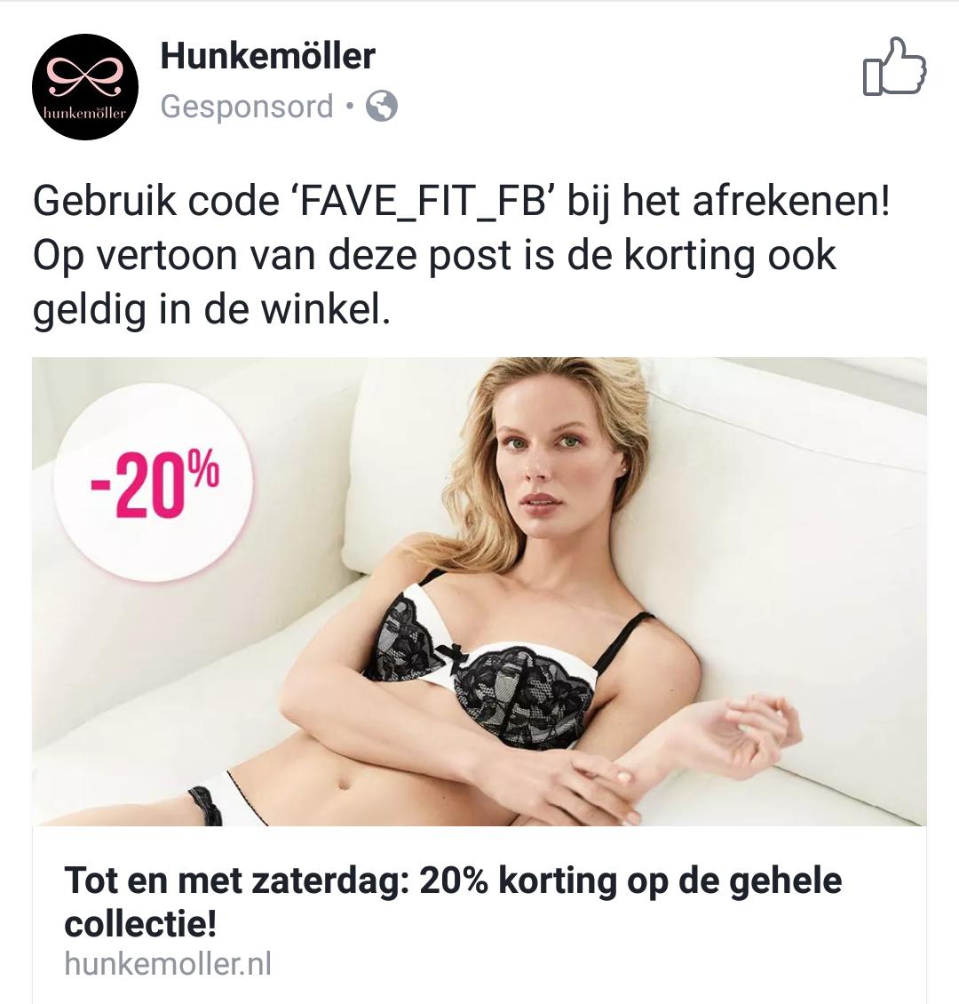 Tot en met zaterdag 20% korting op de hele collectie bij Hunkermöller