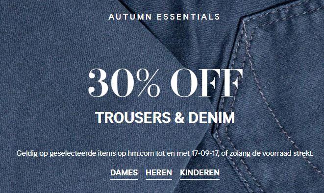 Actie: 30% korting op nieuwe jeans / broeken + gratis verzending @ H&M