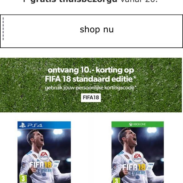 Fifa 18 (PS4/XBOX) voor €55 @ Wehkamp