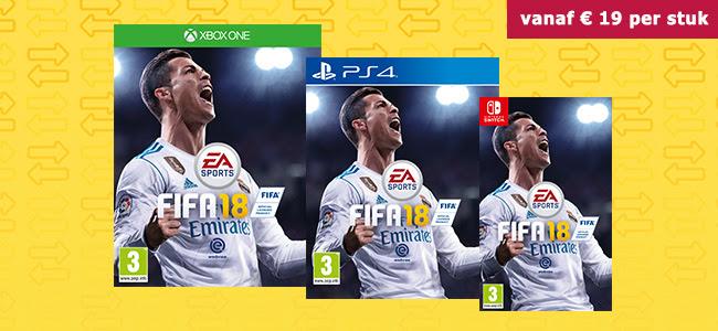 Nieuwe inruilacties: FIFA 18 voor €19, PS4 Pro 1TB + FIFA 18 Ronaldo Edition voor €279 @ Gamemania