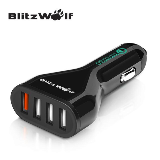 BlitzWolf BW-C10 QC3.0 54W USB Car Charger (4-poorts)